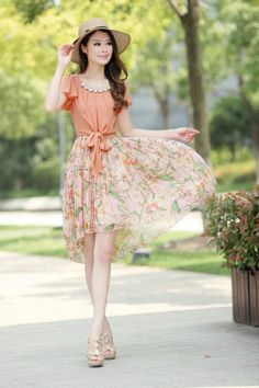 Summer, Short Sleeve, Chiffon Dress, Free Pendant, Collar, YRB, 3012, Summer Dress, Short Sleeve Dress, Summer Chiffon Dress, Green Dress, P...