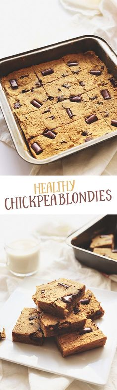 Healthy Chickpea Blondies made from everybody's favourite bean! They're gluten-free, high in protein and sweetened with maple syrup. No one will guess that they're made from chickpeas!  These are the perfect chickpea dessert for a healthy dessert alternative. Plus they're gluten-free too!