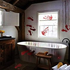 ShineMe 6 Packs Halloween Bloody Handprint #HomeDcorAccents