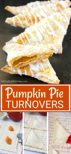 These Pumpkin Pie Turnovers are the perfect Fall breakfast! Top Recipes, Fall Recipes, Holiday Recipes, Great Recipes, Recipe Ideas, Easy Pumpkin Pie, Pumpkin Dessert, Pumpkin Recipes, Savory Pastry