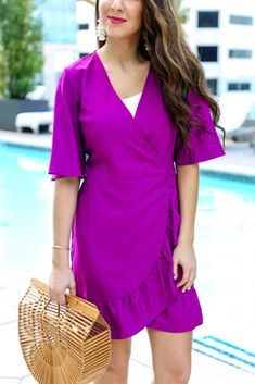 de43643447 Hot Pink Ruffle Wrap Dress for Summer. Boho Fashion