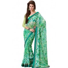 Shop Now - http://www.valehri.com/green-fantastic-saree-with-blouse-453