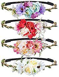 9177edc5ac75af Haarband mit Blumen MOOKLIN 4 Stück Stirnband Haarband Kopfschmuck  Haarbänder Mehrfarbig Blume Haarreife mit elastischem Band für Frauen  Mädchen Festival ...