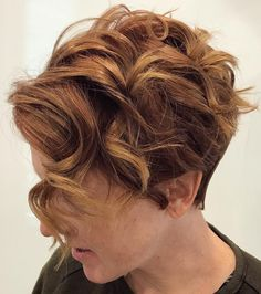 Tapered Brown Pixie with Ginger Curls