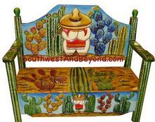 Hand Painted Hand Carved Mexican Bench - Desert Scene ~ #Mexican