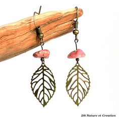 Nature jewelry rhodonite earrings pink stone by DSNatureetCreation https://www.etsy.com/listing/241978927/nature-jewelry-rhodonite-earrings-pink?ref=shop_home_active_12