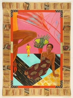 Emma Amos Country: United States of America Style: Realism/ Lithography/ Printmaking/ Modernism Medium: acrylic on linen and African fabric borders, Watercolour, Offset Lithographs Fun Fact: The. African Fabric, African Art, Harlem Renaissance Artists, Reading Pictures, Painting Collage, Paintings, Art Inspiration Drawing, Afro Art, Gcse Art