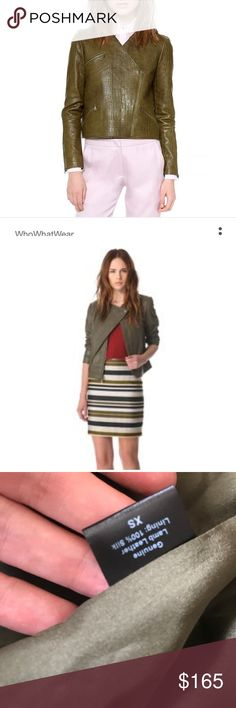 Jenni Kayne sold out lamb leather jacket green Xs Absolutely stunning jacket by Jenni Kayne in good preowned condition size Xs jenni kayne Jackets & Coats