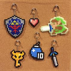 The Legend of Zelda Perler beads 6 Keychains set