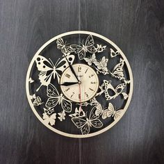 Butterfly Wall Clock Made of Wood - Perfect and Beautifully Cut - Decorate Your Home with Modern Art - Unique Gift for Him and Her - Size 12 Inches Best Wall Clocks, Unique Clocks, Wooden Art, Wood Wall Art, Wall Watch, Lampe Decoration, Unique Gifts For Him, How To Make Wall Clock, Mosaics
