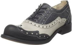 "John Fluevog Women's Amanda Oxford,Black/Grey - leather with manmade sole, heel 1"" $239.00"