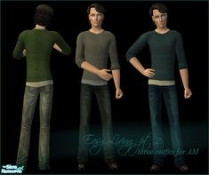Casual outfits for YA and AM: simple sweater on top of a t-shirt combined with jeans and leather shoes. Thanks to Liana for the mesh!  Found in TSR Category 'Sims 2 Downloads'