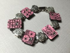 Pink Zentangle inspired art bracelet with beautiful by BoTangles