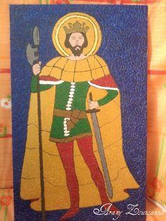 Szent László király tojáshéjkép a Pannonhalmi Apátság üvegablakának mintájára