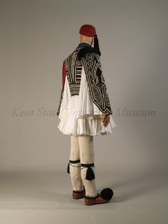 Traditional mainland full-dress uniform of the Greek Presidential Guards, the Evzones (image Folk Costume, Costumes, Black Garter, Jessica Rose, Red Felt, Knit Leggings, Box Pleats, Albania, Historical Clothing