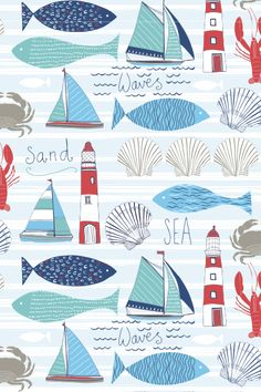 Design Portfolio for Jessica Hogarth Designs - paint and art Fish Drawings, Am Meer, Fish Art, Surface Pattern Design, Beach Art, Portfolio Design, Painting & Drawing, Decoupage, Art Projects