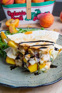 Peach, Chicken and Gorgonzola Balsamic Quesadillas...Oooo sounds good!