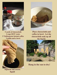 Country Friends-Coffee stain 5 yards of cheesecloth in 2 minutes