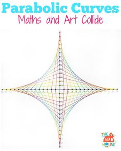 Parabolic curves -  maths and art collide to make great kids activities. Using maths concepts is a great way to encourage kids to develop their creative skills and visa versa