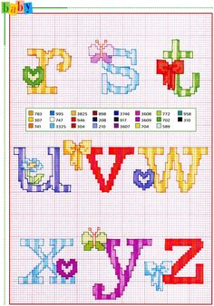 Alfabeto punto croce con fiocchi fiori e farfalle (3)