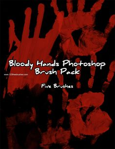 Bloody Hand Prints - Download  Photoshop brush http://www.123freebrushes.com/bloody-hand-prints/ , Published in #BloodSplatter, #GrungeSplatter. More Free Grunge & Splatter Brushes, http://www.123freebrushes.com/free-brushes/grunge-splatter/ | #123freebrushes