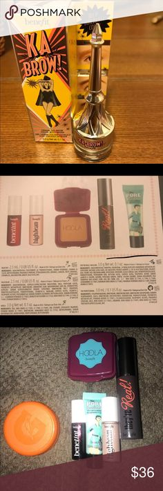 Benefit Cosmetics Bundle Brand New never used. So as I got this using my Sephora rewards and I knew they were minis but OMG I didn't realize they were literally minis.  The second picture gives you a description of how many oz per product.    Ka Brow retails for $24 before tax and Concealer & highlighter duo retails for $14 before tax Benefit Makeup Bronzer