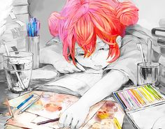 ✮ ANIME ART ✮ anime. . .artist. . .painter. . .drawing. . .pencils. . .colorful. . .sleeping. . .black and white. . .cute. . .kawaii