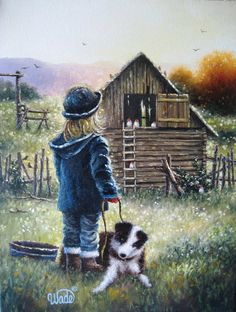 Farm Girl Print from Oil Painting, Country Girl, Little farm girl, border collie dog, chickens, chicken coop, Vickie Wade art