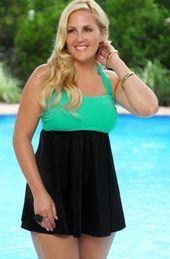 Women's Plus Size Swimwear - Always For Me In Control Wrap Bandeau Swimdress