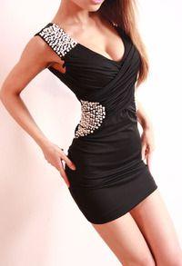 Black Sleeveless Bead Body Conscious Dress