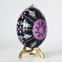 Fantasy floral design batik egg gift for wifes birthday pysanky christian symbol fish hand painted egg easter gifts and negle Choice Image
