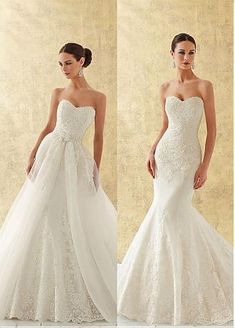 Buy discount Charming Organza Sweetheart Neckline 2 In 1 Wedding Dress With Beaded Sequins Lace Appliques at Dressilyme.com