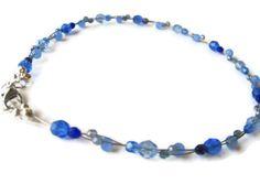 Blue Czech Glass Beaded Necklace by Creationsbylaceyjane on Etsy, $28.00