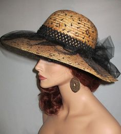 0f431cf36b56c SAFARI CHIC - Carmel Color Straw Vintage Sun Hat With Handpainted Animal  Print Design   Black Tulle Accents