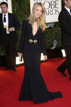 "The Globes' Best Dressed Stars: Only hot-bodied Kate Hudson would say she opted for ""comfort"" in a black, body-clinging Alexander McQueen! Apparently, her first choice was too heavy for her breezy-boho mantra of the eve life, and we're glad she opted for classic elegance and on-point statuesque-chic."