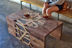 Branching Table - Wood and Glass coffee table