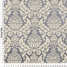 Elegant Shine Damask Blue and Taupe Fabric