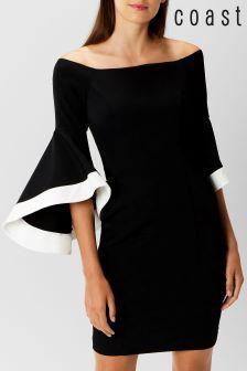 Coast Black Elodie Bell Sleeved Dress Utsvängda Byxor 87c798c52f9f5