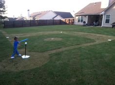 Great summer project, what kid wouldnt want a baseball field in the yard Sports Themed Birthday Party, Baseball Birthday, Baseball Party, 8th Birthday, Baseball Snacks, Baseball Scoreboard, Birthday Ideas, Happy Birthday, Baseball Live