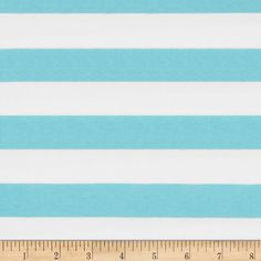 """Riley Blake Jersey Knit 1"""" Stripes Aqua from @fabricdotcom  From Riley Blake Fabrics, this lightweight stretch cotton jersey knit fabric features a smooth hand and four way stretch for added comfort and ease. With 50% stretch across the grain and 25% vertical stretch, it is perfect for making t-shirts, leggings, loungewear, yoga pants and more! It features printed horizontal stripes."""