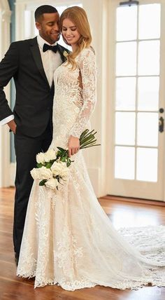 Romantic Lace all over mermaid wedding dress with beautiful long sleeves and plunging v-neckline | Bride and groom photo | Martina Liana Fall 2020 Wedding Dresses - Style 1257 - Belle The Magazine #weddingdress #weddingdresses #bridalgown #bridal #bridalgowns #weddinggown #bridetobe #weddings #bride #dreamdress #bridalcollection #bridaldress #dress See more gorgeous bridal gowns by clicking on the photo Gorgeous Wedding Dress, Wedding Looks, Wedding Dress Styles, Bridal Looks, Designer Wedding Dresses, Bridal Style, Bridal Dresses, Dream Wedding, Diy Wedding