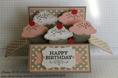 Pinner: Stampin up sprinkles of life stampset. I made this card in a box card with ice cream cones, I think it turned out well! STAMP WITH RACHEL Card In A Box, Pop Up Box Cards, 3d Cards, Stampin Up Cards, Easel Cards, Fancy Fold Cards, Folded Cards, Happy Birthday Cards, Birthday Box