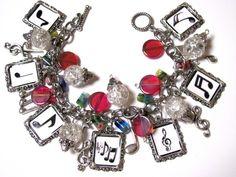 MUSIC NOTE Altered Art Charm Bracelet Beaded Handmade | PaleMoonCreations - Jewelry on ArtFire