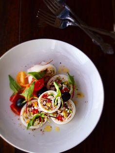 ヤリイカの豆腐リピエーノ・サラダ仕立て - Simple-5han Simple-habita お洒落に簡単料理