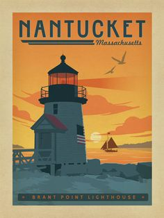 Nantucket, MA - This lovely coastal scene features an iconic Nantucket lighthouse at the time of day when favorite memories are made.