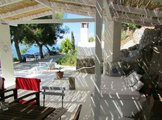 #limnisa #methana #greece #retreat Greece, Patio, Writing, Outdoor Decor, Travel, Home Decor, Greece Country, Viajes, Decoration Home
