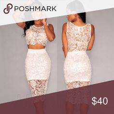 340ffb36ba1 LILIANNA Ivory lace Two piece. Skirt has a soft lining built into it. Top