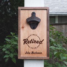 Personalized Walnut & Maple Wood Bottle Opener Retirement Gift Surveyor Retirement Gift Ideas – Custom Etched Bottle Opener – Wood – Wall Mounted – Made in the USA – Handcrafted