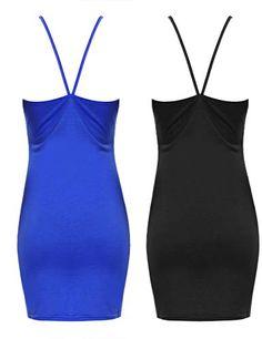 dc86b29acb2c Aibrou Femme Robe Mini Fines Bretelles Ajustables Un Essentiel en Toute  Saison - Noirbleu - L
