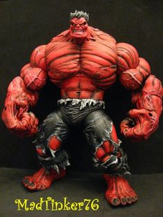 Red Hulk RULK Pitt Size custom action figure from the Marvel Legends series using LCBH Pitt as the base, created by Marvel Villains, Marvel Comics Art, Marvel Characters, Marvel Heroes, Red Hulk Marvel, Hulk Avengers, Evil Clown Costume, Hulk Artwork, Fighting Drawing